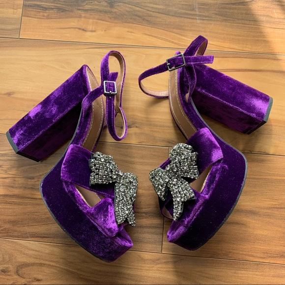Zara velvet blocked heels bow tie sandals 8